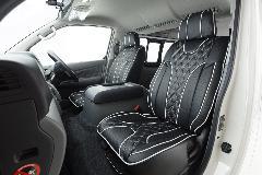 1台分セットNV350キャラバン用 IFUU高級欧州車デザインシートカバー ブラック×ホワイト