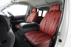 1台分セットNV350キャラバン用 IFUU高級欧州車デザインシートカバー ボルドー×ブラック