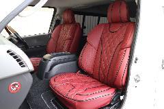 フロント用200系ハイエース IFUU高級欧州車デザイン3D成形バケットシートカバー ボルドー×ブラック