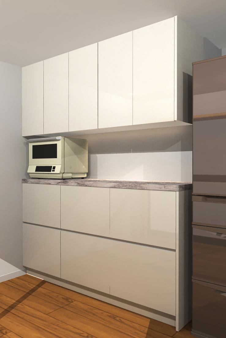 相模原キッチン収納プランイメージ3Dパース