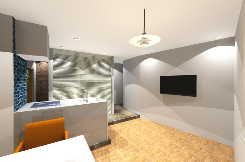 3Dイメージパース アパートデザインリノベーション�A