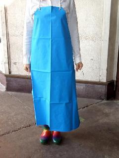 ビニロン胸付防水前掛け (ブルー) 日本製