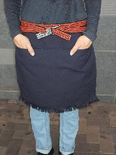 ふさ付き二つポケット無地帆前掛け 幅広52cm