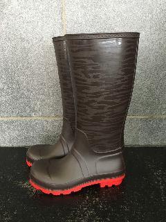 安全耐油長靴ロングタイプ 透かしゼブラ柄 (ブラウン)中国製