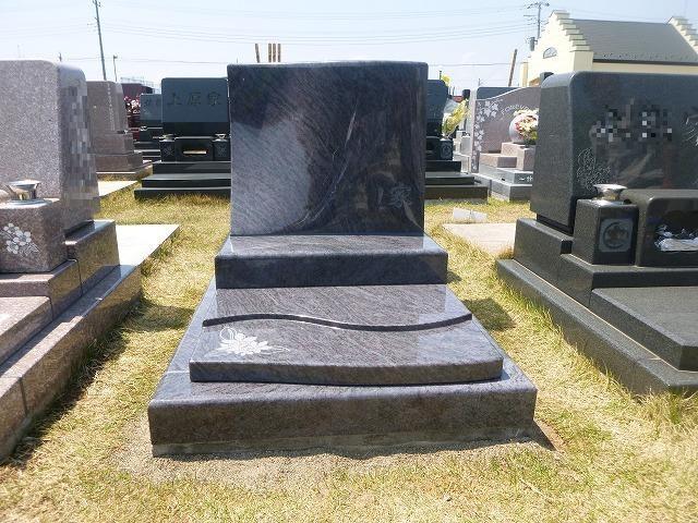 デザイン墓石 マハマブルー インド産