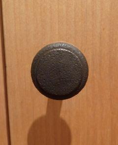古アイアン風仕上げ/ 真鍮organオリジナル取っ手・つまみ001(ラインあり)