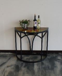ガラス コンソールテーブル(ラウンド系)天板:カラフルガラス002