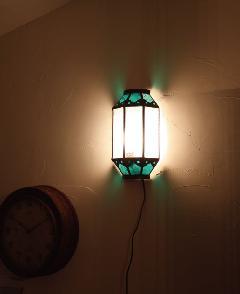 アイアン&ガラス ウォールランプシェード(壁掛け照明/ブラケットライト)グリーン01
