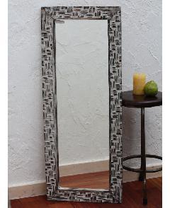 木製 壁掛けミラー/鏡 (格子模様デザイン)