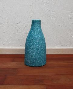 花器、フラワーベース(素焼き)ブルーブルーム03