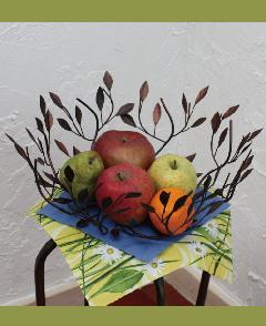 アイアン キッチン雑貨・フルーツボウル/果物皿 (シロダモの葉の皿)04