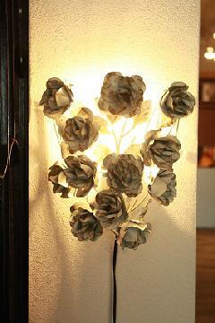 アイアン ウォールランプシェード(壁掛け照明/ブラケットライト)ホワイトローズ