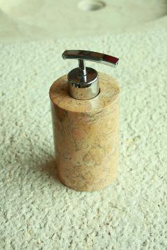 天然石(大理石)洗剤ディスペンサーボトル オレンジ系Sサイズ