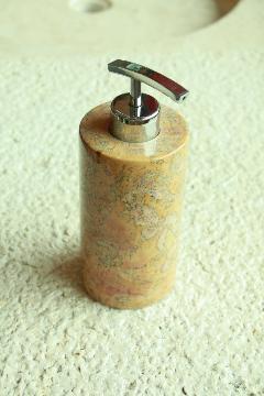 天然石(大理石)洗剤ディスペンサーボトル オレンジ系Mサイズ
