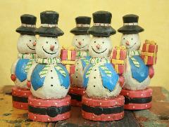 木製置物 雪だるま 水色ベスト