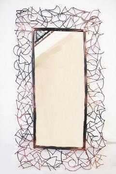 アイアン 壁掛けミラー/鏡 (ランダム)