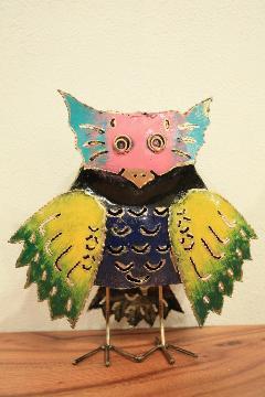 アイアン キャンドルスタンド/カラフルフクロウ(ピンクの顔) 【アジアン雑貨】【バリ雑貨】