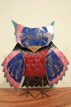 アイアン キャンドルスタンド/カラフルフクロウ(青い顔) 【アジアン雑貨】【バリ雑貨】