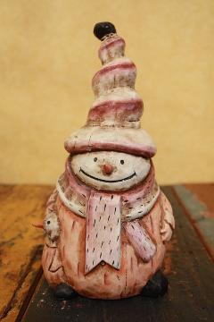 木製置物 雪だるま 親子M-B1