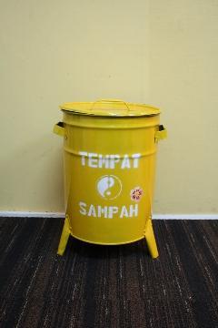 ドラム缶ゴミ箱/ダストボックス黄(小)