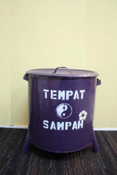 ドラム缶ゴミ箱/ダストボックス紫(中)