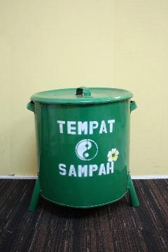 ドラム缶ゴミ箱/ダストボックス緑(中)