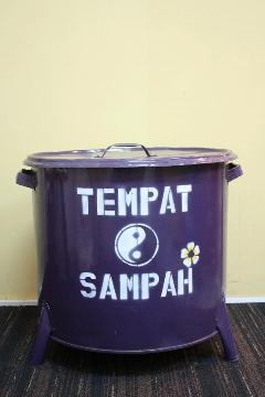 ドラム缶ゴミ箱/ダストボックス紫(特大)