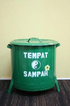 ドラム缶ゴミ箱/ダストボックス緑(大)