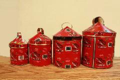 ブリキ 雑貨・置物・缶/ディスプレイ缶(赤い魚)/AZOMASE-R