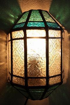 アイアン&ガラス ウォールランプシェード(壁掛け照明/ブラケットライト)MAグリーン2色