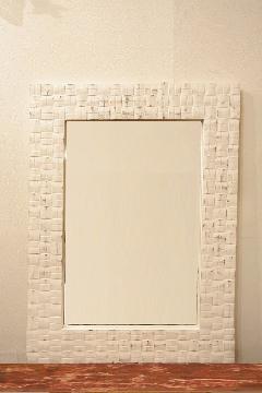 木製 壁掛けミラー/鏡 (マス目)