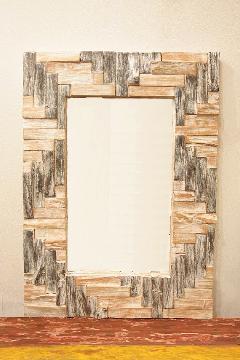 木製 壁掛けミラー/鏡 (小・木片)
