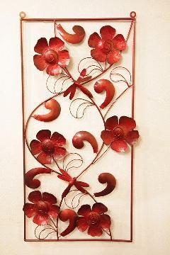 アイアン ウォールデコ(壁掛け飾り・アート) 赤長方形・花&トンボ