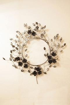 アイアン 壁掛けミラー/鏡 (黒バラ) シルバー