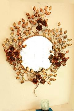 アイアン 壁掛けミラー/鏡 (バラの木)