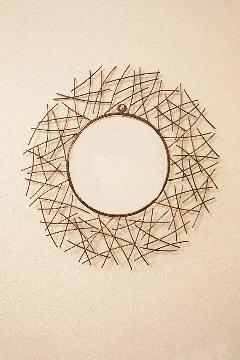 アイアン 壁掛けミラー/鏡 (小枝) 丸 古金色