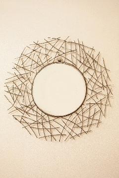 アイアン 壁掛けミラー/鏡 (小枝) 丸 シルバー