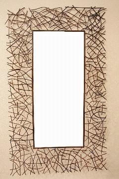 アイアン 壁掛けミラー/鏡 (小枝) �U 古金色