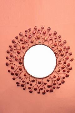 アイアン 壁掛けミラー/鏡 (スパークリング)レッドS
