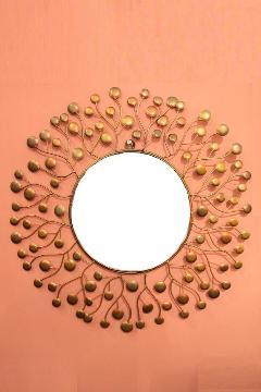 アイアン 壁掛けミラー/鏡 (スパークリング)ゴールドS