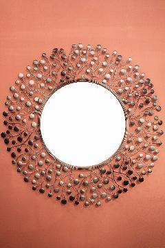 アイアン 壁掛けミラー/鏡 (スパークリング)シルバーグレイM