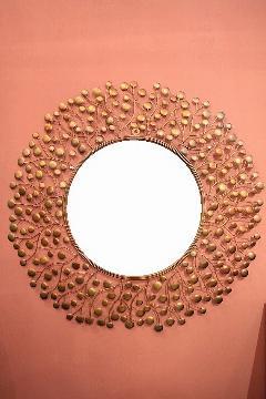 アイアン 壁掛けミラー/鏡 (スパークリング)ゴールドM