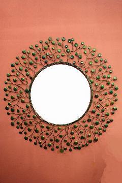 アイアン 壁掛けミラー/鏡 (スパークリング)グリーンM