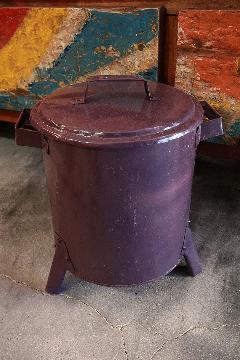 ドラム缶ゴミ箱/ダストボックス紫(ミニ)
