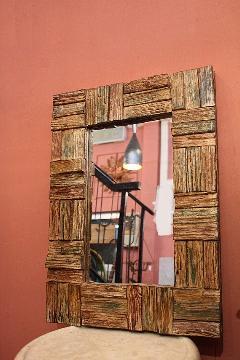 木製 壁掛けミラー/鏡 パステルブラウン
