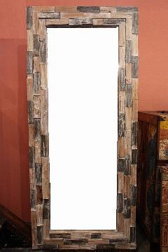 木製 壁掛けミラー/鏡 コンビベージュL