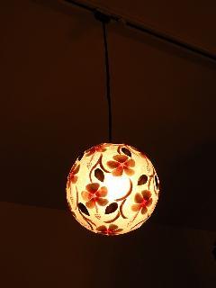ペンダントランプMD01 シェル花柄・球体