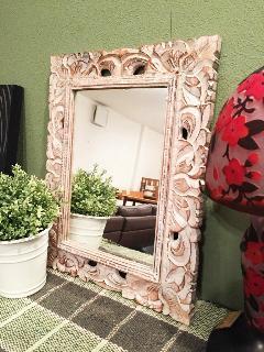 木製 壁掛けミラー ミニ /鏡 ホワイト/ブラック