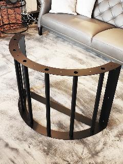 一枚板カウンターテーブル用 アイアン半円脚(ブラック) L0044