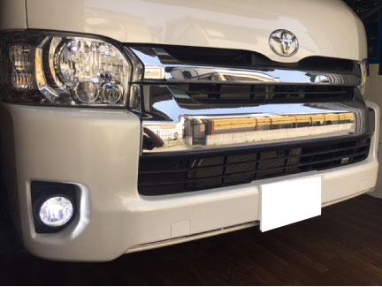 ハイエースキャンピング仕様車のLEDフォグランプ取り付け例